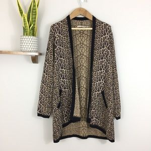 Soft Surroundings Leopard Duster Cardigan Sweater